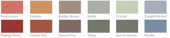 Some of the colours in the Earth Born paint range