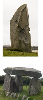 A menhir from Brittany and a cromleac from Ireland