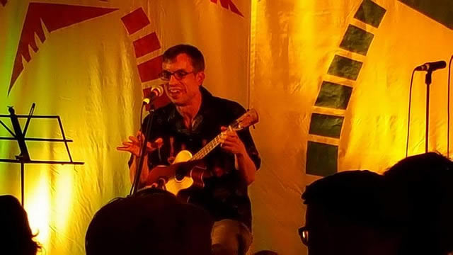 Me playing one of my songs in the open mic at the 2016 Ukulele Hooley