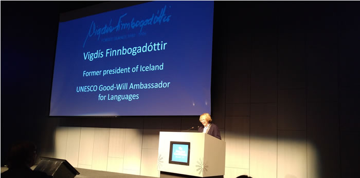 Vigdís Finnbogadóttir opening the 2017 Polyglot Conference in Reykjavik