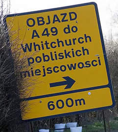 Polish sign in Cheshire, UK