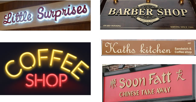 Some examples of shop signs