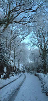 Siliwen Road, Bangor with snow