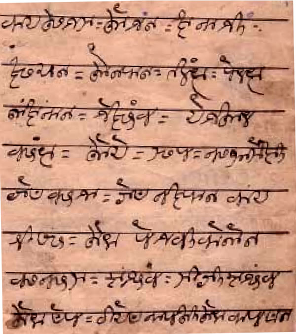 Sample text in the Gunjala Gondi script