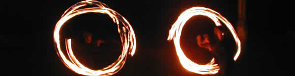 Photo of fire poi spinning on Brighton beach