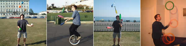 Simon Ager juggling and unicycling