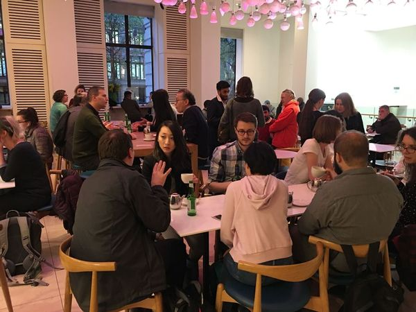 Some happy polyglots at the Languages of London meet-up in the Wellcome Collection café