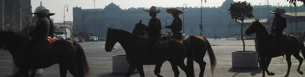 Photo of sombero-wearing, hourse-riding cops in Mexico City